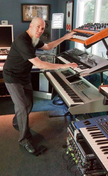 Jordan Rudess using the AirTurn BT-105 in his studio